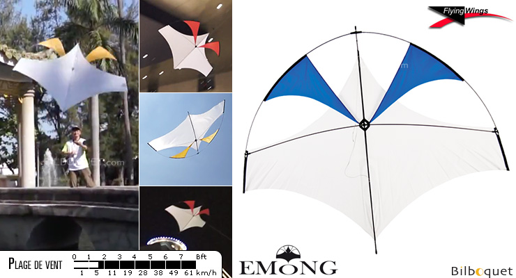 EMONG cerf-volant monofil pilotable bleu Flying Wings