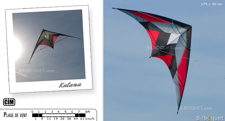 Katana Cerf-volant pilotable initiation/loisir 175cm Kenjutsu Colours in Motion