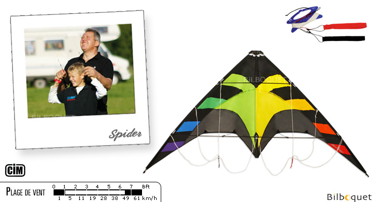 Spider Stunt Kite for beginners 145cm rainbow Colours in Motion