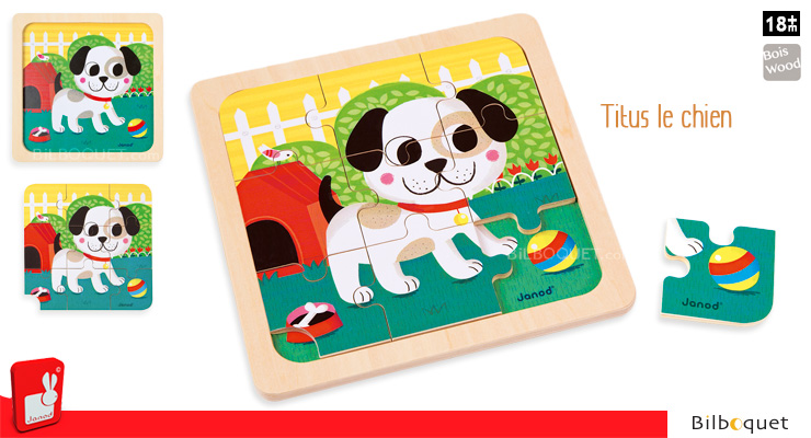 Titus dog wooden puzzle Janod