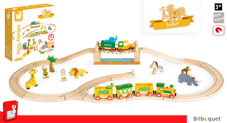 Story Express Safari - Wooden Railway Set Janod