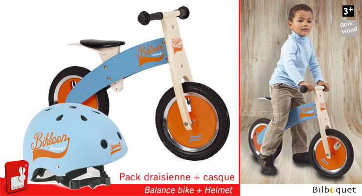 Pack Bikloon Draisienne + Casque bleu/orange Janod