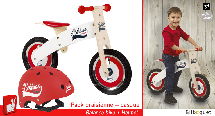 Bikloon Pack Balance Bike + Helmet red/white Janod