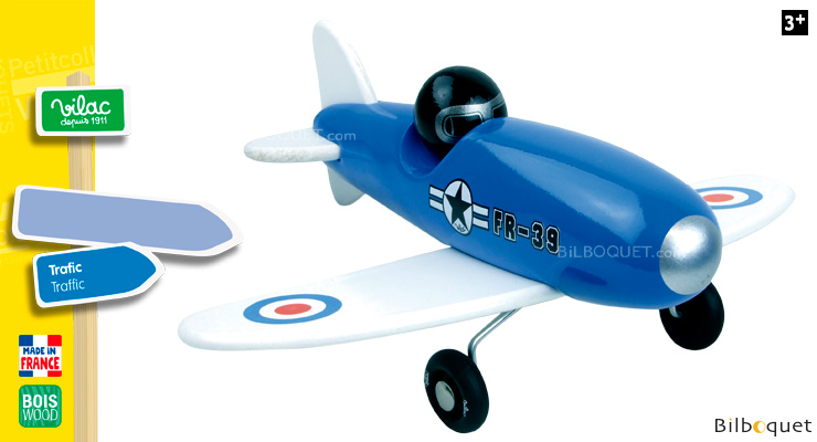 Blue Aerobatic Aircraft - Wooden Toy Vilac