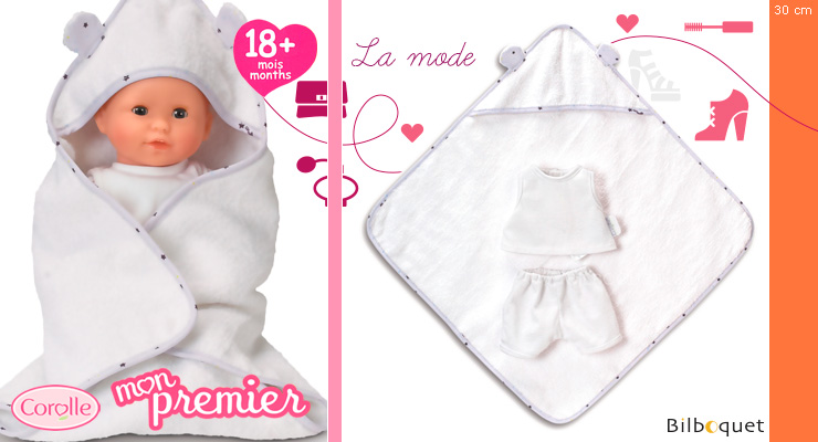 Bath Cape & Underwear for 30cm doll Corolle