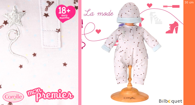 Grey Star Pajamas & Hat for 30cm doll Corolle