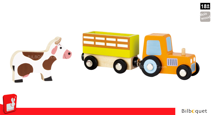 Story Set Farm - Tractor, Trailer and Cow Janod