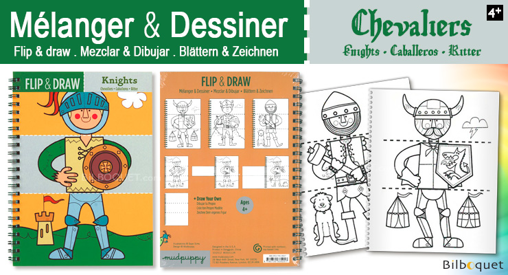 Cahier de coloriages Flip and draw Chevaliers Mudpuppy