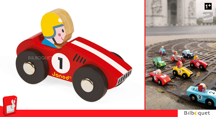 Red Wooden Race Car n°1 Janod