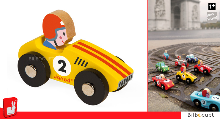 Yellow Wooden Race Car n°2 Janod