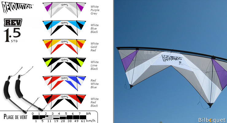 Revolution 1.5 Standard White-Purple-Grey Revolution Kites
