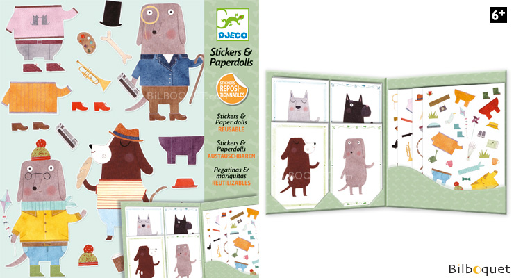 Stickers & Paperdolls Reusable My dog friends Design By Djeco