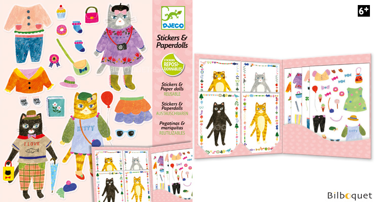 Stickers & Paperdolls Reusable My cat friends Design By Djeco