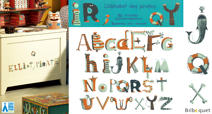112 removable wall stickers Pirates alphabet Little Big Room by Djeco