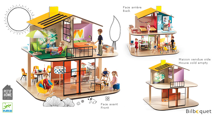 Color House - Wooden Dollhouse (empty) Djeco