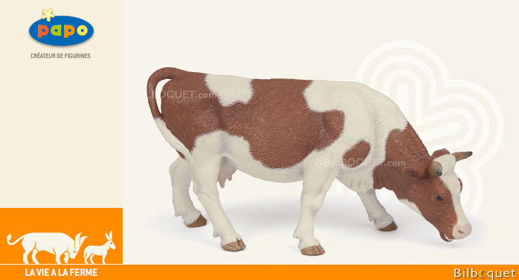 Grazing Simmental Cow - Farm Figurine Papo