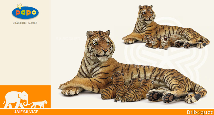 Lying tigress nursing - Wild Animals Figurine Papo