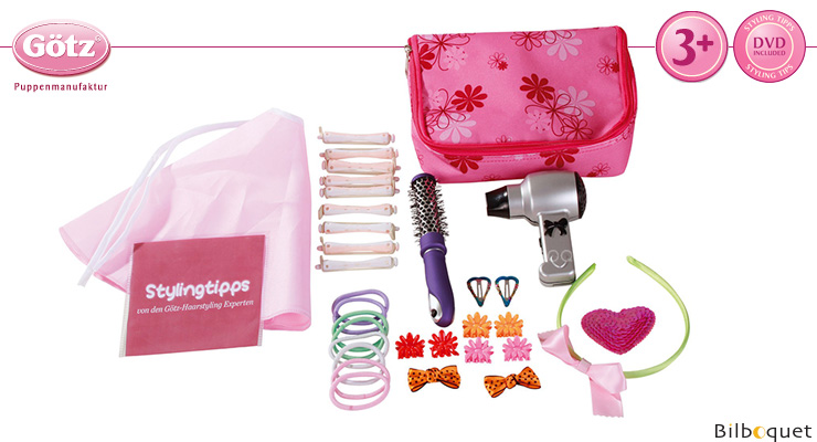 Hair Styling Set with bag and DVD - For Dolls Götz Dolls