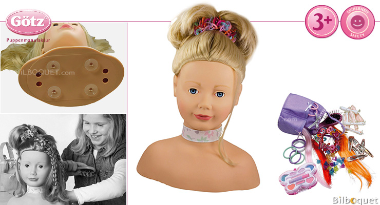 Götz Styling Head, 58 pieces, blond, blue eyes Götz Dolls