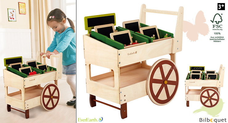 Organic Fruit and Veg Wooden Cart EverEarth