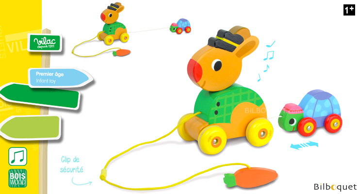 The hare and the tortoise - Pull along musical toy Vilac