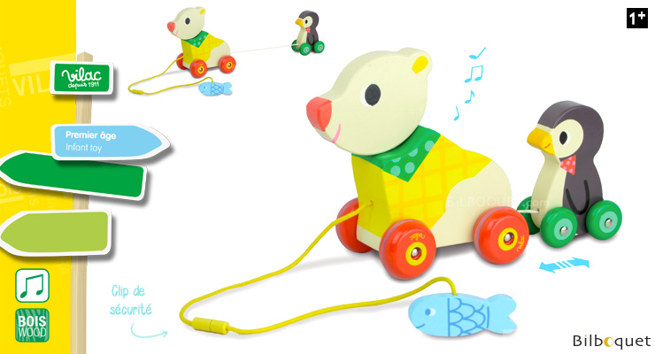 The bear and the Penguin - Pull along musical toy Vilac