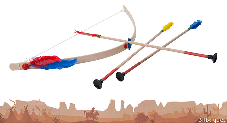 Indian Bow with 3 arrows - Wooden Toy Helga Kreft