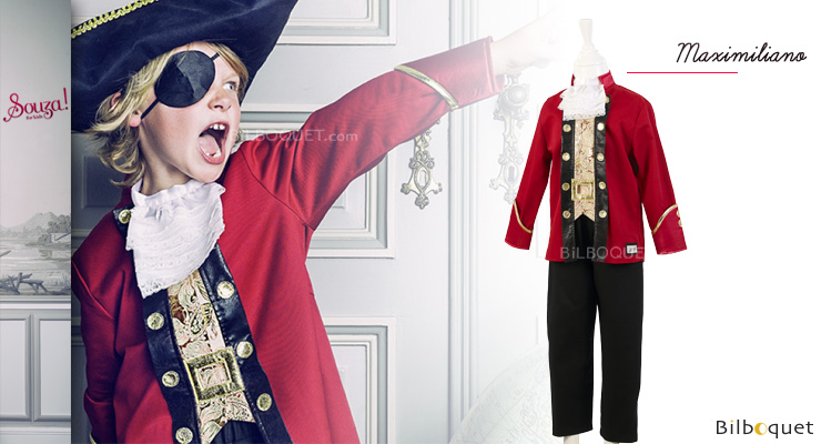 Costume Captain Maximiliano - Costume for Boy ages 5-7 (110-122cm) Souza for kids