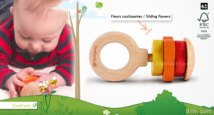 Wooden Rattle Toy - Flowers EverEarth