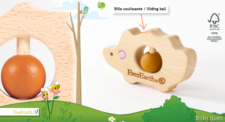 Wooden Rattle Toy - Hedgehog EverEarth