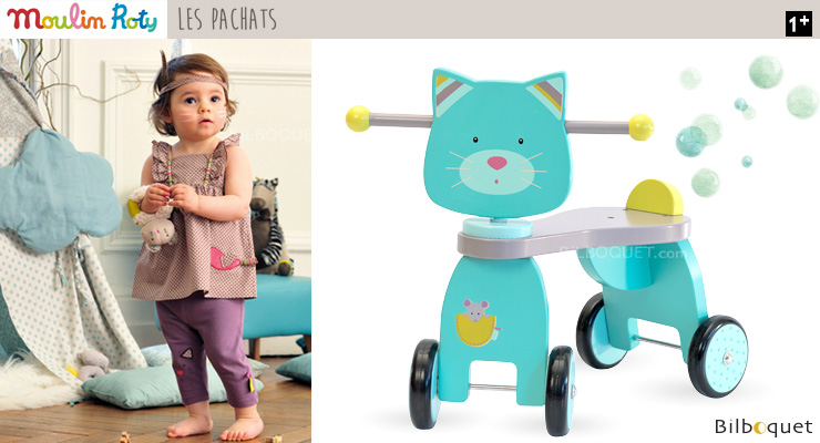 Cat Push Along Stroller - Wooden Toy - Les Pachats Moulin Roty