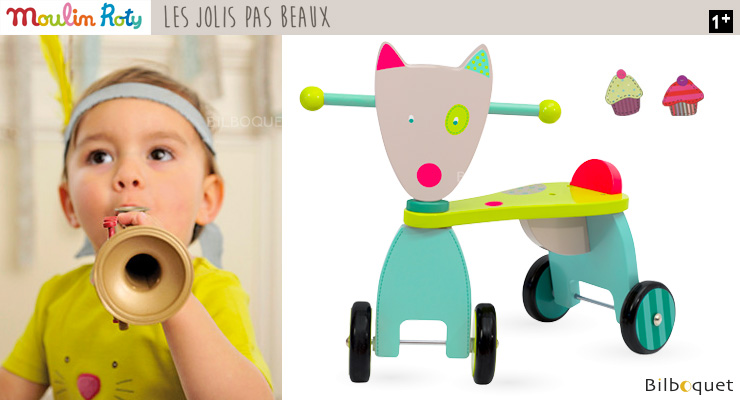 Wolf Push Along Stroller - Wooden Toy - Les Jolis pas Beaux Moulin Roty