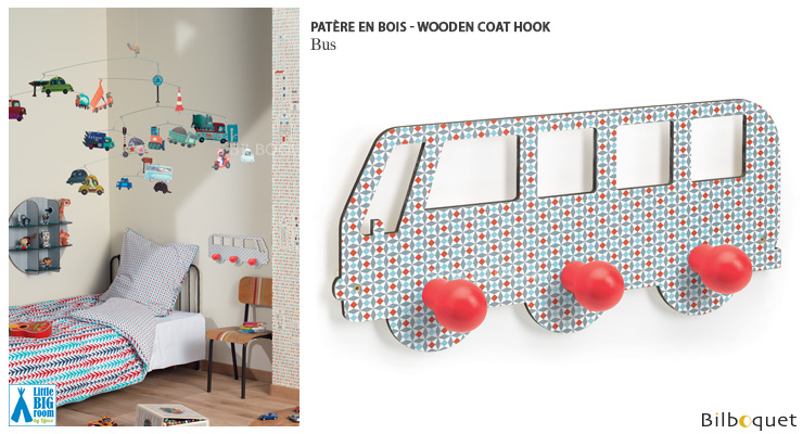 Wooden coat hook Bus - Little Big Room Little Big Room by Djeco
