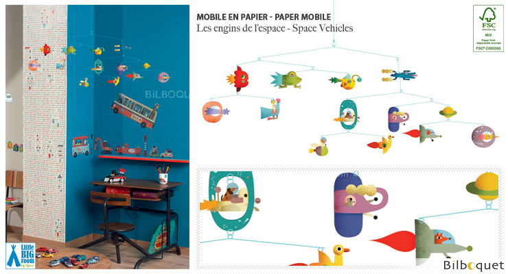 Mobile en papier FSC Les engins de l'espace - Little Big Room Little Big Room by Djeco