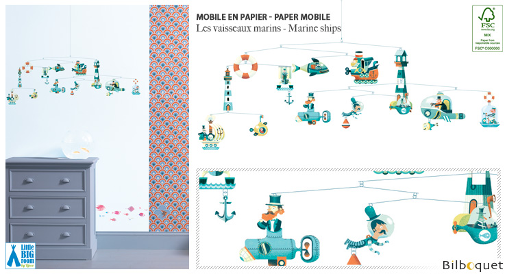 Mobile en papier FSC Les vaisseaux marins - Little Big Room Little Big Room by Djeco