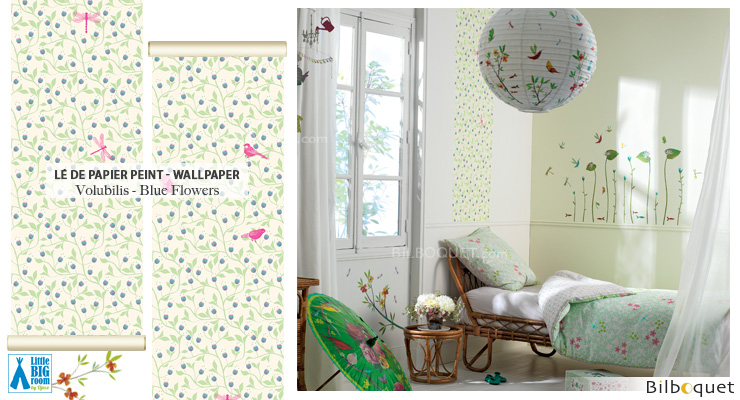 Wallpaper Strip Blue flowers - Little Big Room Little Big Room by Djeco