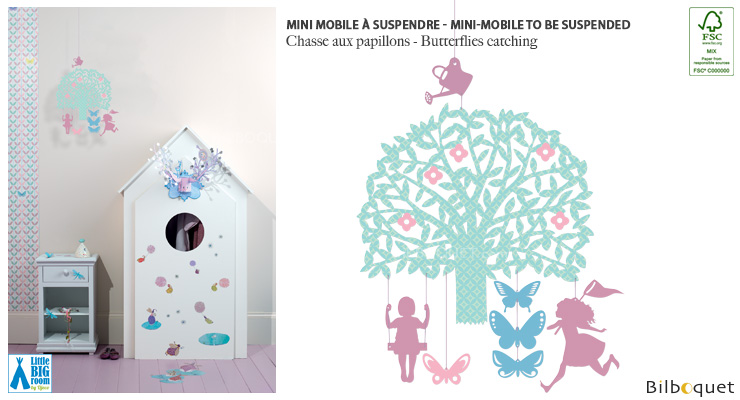 Mini mobile Butterflies catching - Little Big Room Little Big Room by Djeco