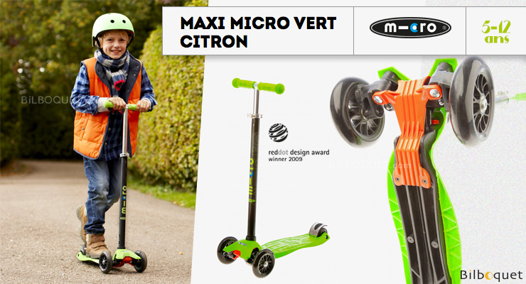 Maxi Micro Lemon Green - Scooter for ages 5-12 Micro Mobility Scooters & Kickboards