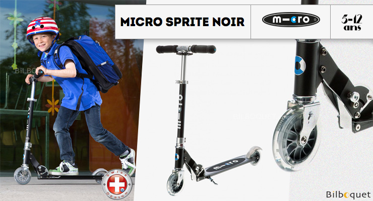 Micro Sprite Black - Scooter for ages 5-12 Micro Mobility Scooters & Kickboards