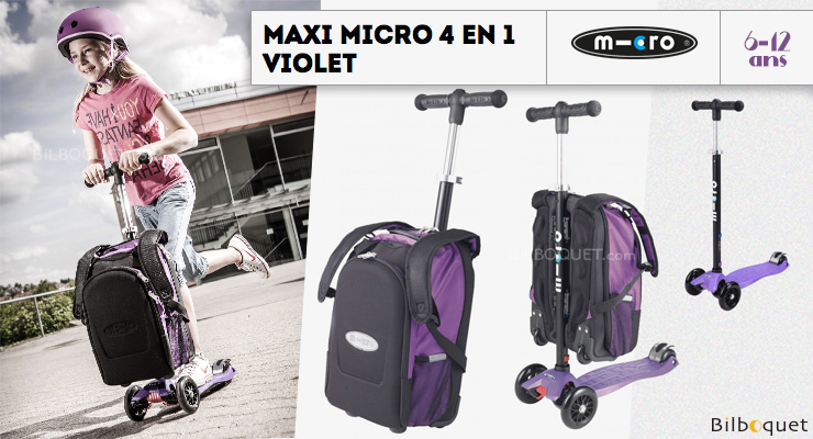 Maxi Micro 4-in-1 Purple - Scooter and Rucksack Micro Mobility Scooters & Kickboards