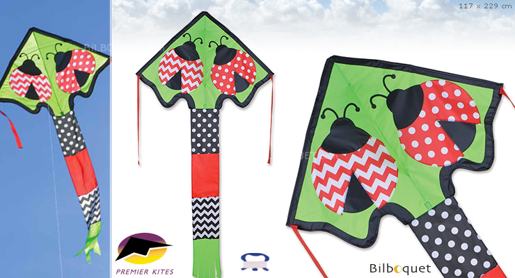 Single-line Kite Large Easy Flyer Lively Ladybugs 117x229cm Premier Kites & Designs