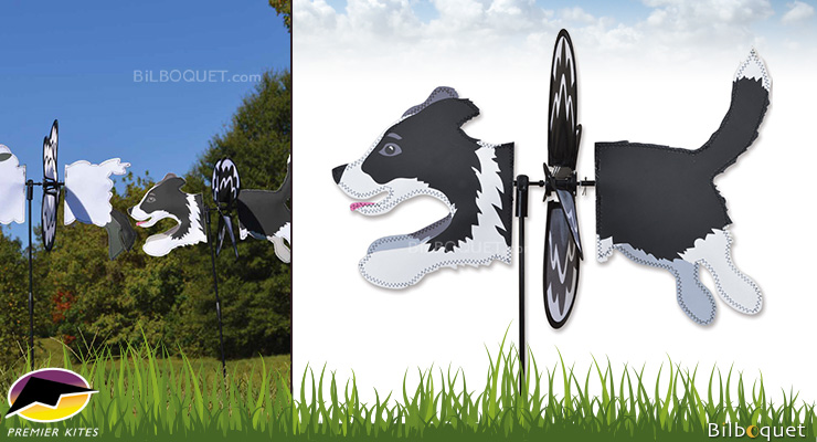 Petite Garden Spinner Border Collie Dog 47cm Premier Kites & Designs