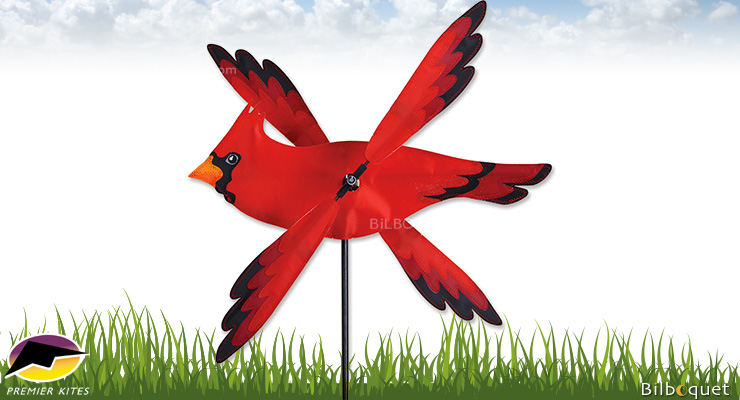 Outdoor Spinner WhirliGig Red Cardinal Bird 43cm Premier Kites & Designs
