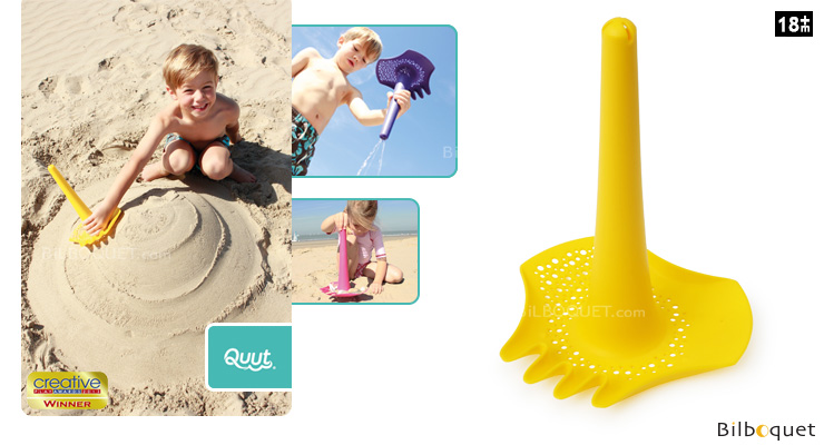 Triplet Yellow - Shovel, Rake, Sieve and Funnel - Beach Toy Quut - Beach Toys