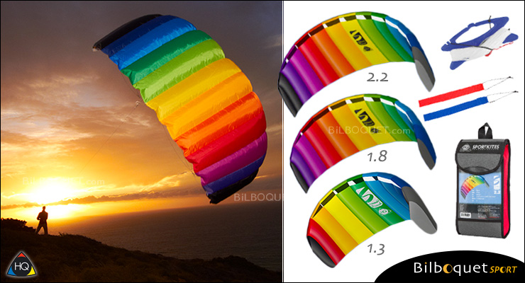 HQ Symphony Beach III - 2-line Power Kite 1.3 - Rainbow HQ Kites