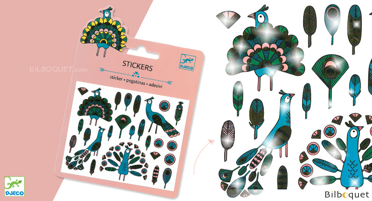 Mini Sticker - Feathers and Peacocks Djeco