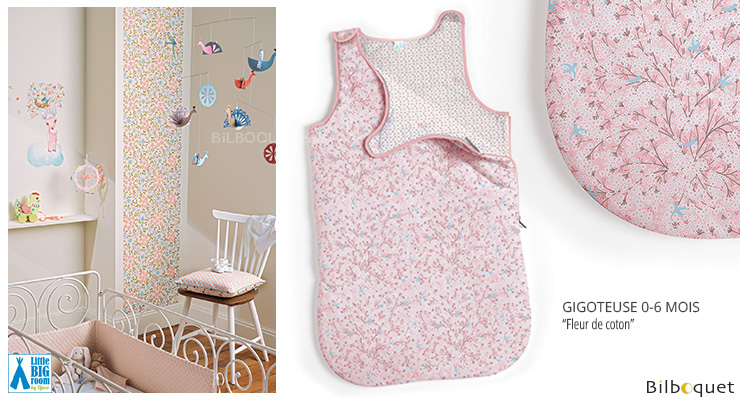 Baby Sleeping Bag 0-6 months Cotton Flower Little Big Room by Djeco