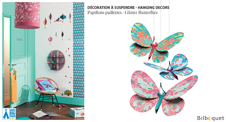 Glitter Butterflies Hanging Decors Little Big Room by Djeco
