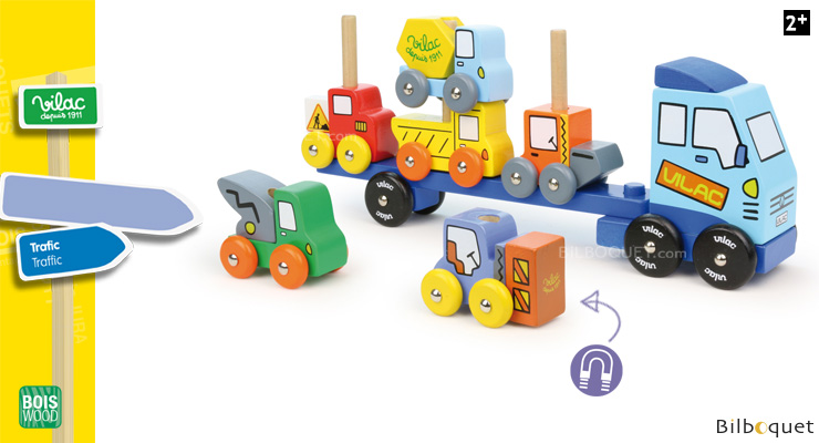 Empil'Auto Wooden truck and vehicles Stacking Vilac