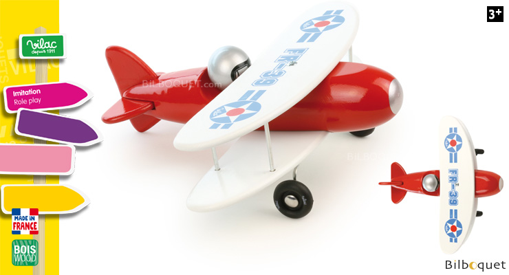 Red biplane - Wooden Toy Vilac
